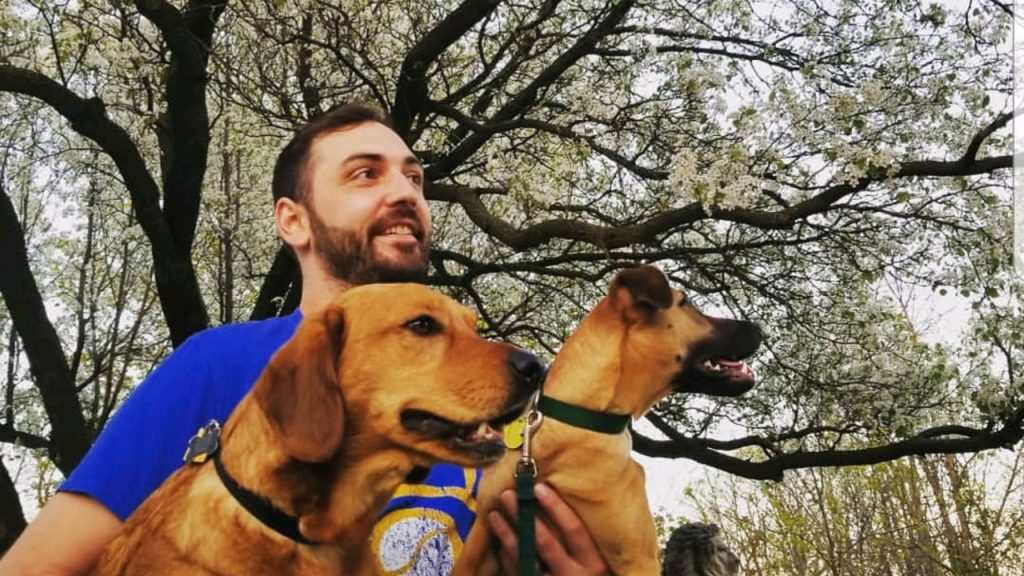 Carlys husband and their dogs